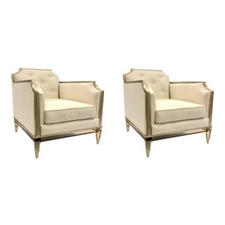 Caracole Modern Frame of Reference Club Chairs- Pair For Sale