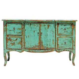 Distressed Aqua Green Blue Credenza Console Side Table Cabinet For Sale