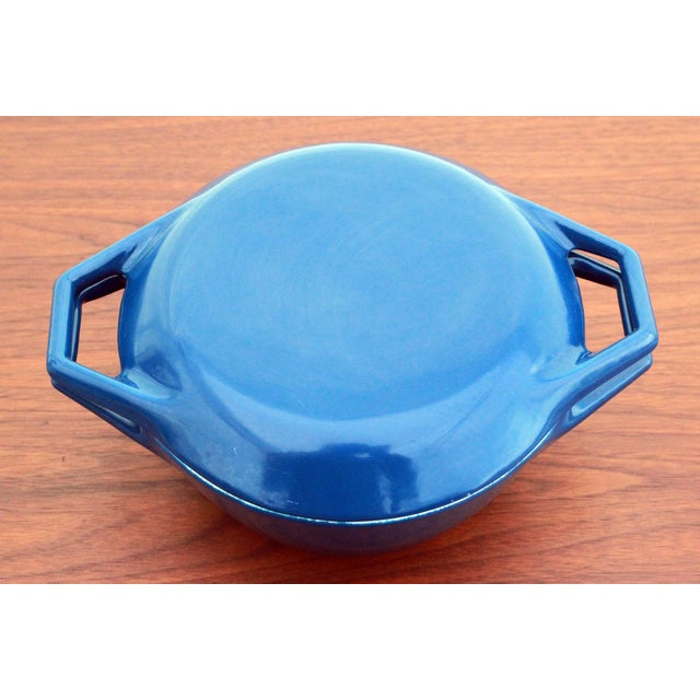 Danish Modern Vintage Blue Michael Lax for Copco Danish Modern Cast Iron Dutch Oven For Sale - Image 3 of 8