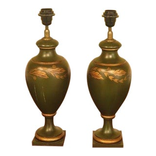 Capitol Wood Paint Decorated Urn Lamps - a Pair For Sale