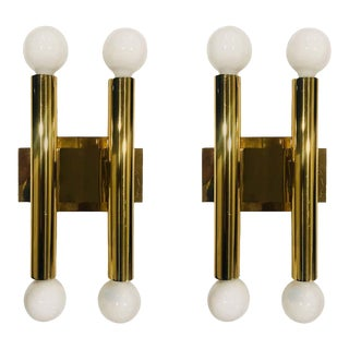 1960s Sciolari Modern Golden Brass Wall Lights - a Pair For Sale