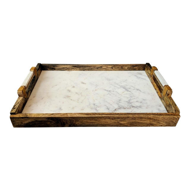 Handcrafted Wood & Marble Bar Tray For Sale