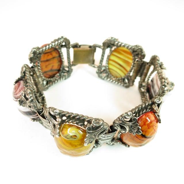 Metal Mid-Century Selro Agate Art Glass Florentine Link Bracelet, 1950s For Sale - Image 7 of 13