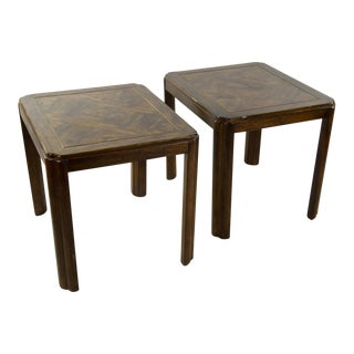 Drexel Campaign Style Burl Wood Side Tables - A Pair