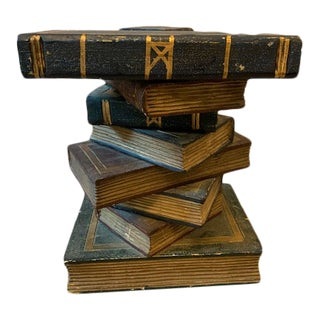 Vintage Stacked Books Tompe l'Oeil Side Table For Sale