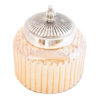 Vintage Iridescent Peach Biscuit Jar With Silver Lid For Sale