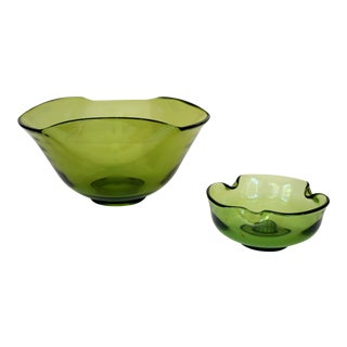 Anchor Hocking Green Glass Bowl & Pinched Candle Holder - A Pair
