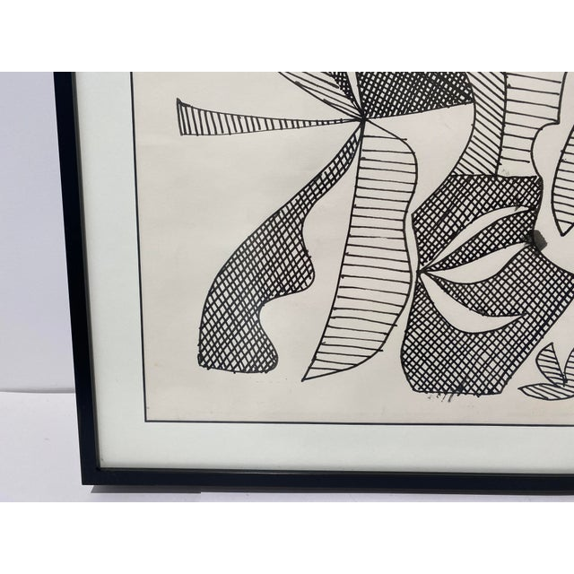 Mid-Century Modern 1969 Series III Pen-Ink Abstract Painting by Listed Artist Rene Marcel Gruslin For Sale In West Palm - Image 6 of 12
