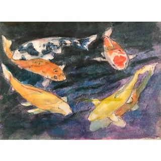 1990s Koi Watercolor Painting For Sale
