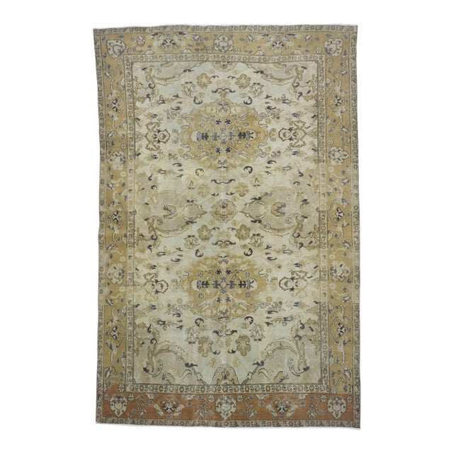"Vintage Hand Knotted Turkish Area Rug - 6'5"" X 9'10"" - Image 1 of 6"