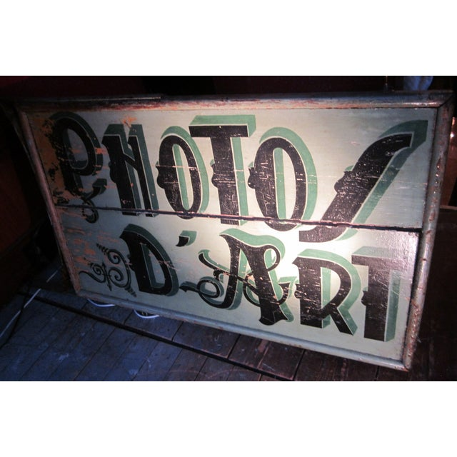 This is an amazing 1920s French hand-lettered double-sided wooden photo studio sign with wrought iron arms. It is painted...