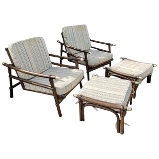 Pair of Midcentury Rattan Lounge Chairs and Two Ottomans by Ficks & Reed For Sale