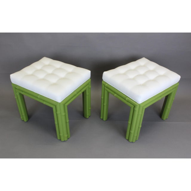 Pair of Faux Bamboo Green Benchches - Image 9 of 11