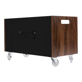Toy Box Chest on Casters in Walnut With Black Finish For Sale