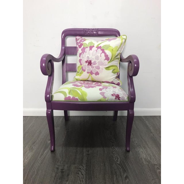 White Accent Chair in Purple With Floral Upholstery & Pillow For Sale - Image 8 of 8