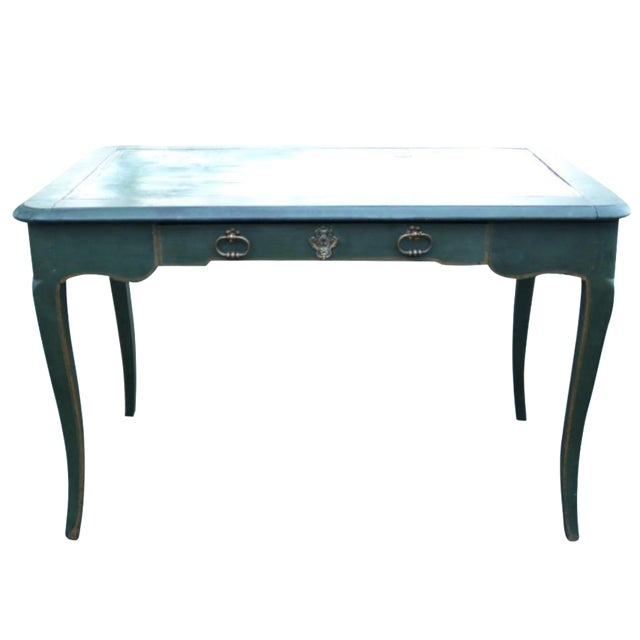 Green Antique French Provincial Leather Top Desk - Image 1 of 11