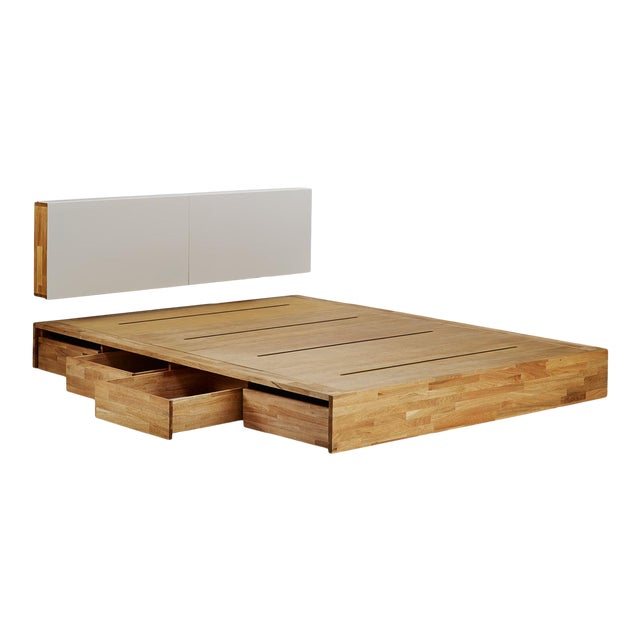 Platform Bed Queen with Storage Drawers and Solid Wood Hung Storage Headboard - 2 Pieces For Sale