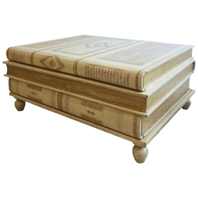 Neoclassical White-Parchment Leather Book Coffee Table by Maitland-Smith For Sale