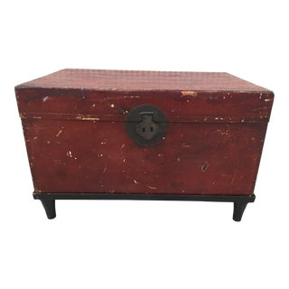 Chinese Red Leather Trunk on Stand For Sale