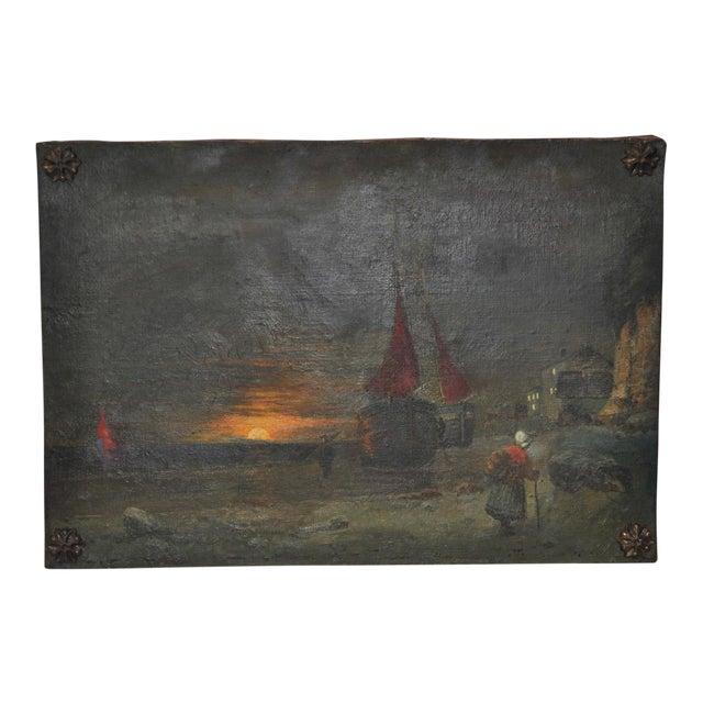 Antique Dutch Landscape Oil Painting For Sale