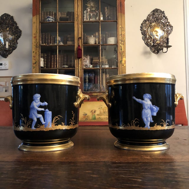 Black Antique French Gilt Soft Paste Two Handled Seaux a Bouteille or Wine Buckets - a Pair For Sale - Image 8 of 13