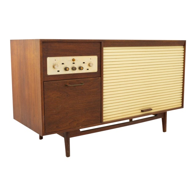 Jens Risom Mid Century Walnut Tambour Door Stereo Console Credenza For Sale
