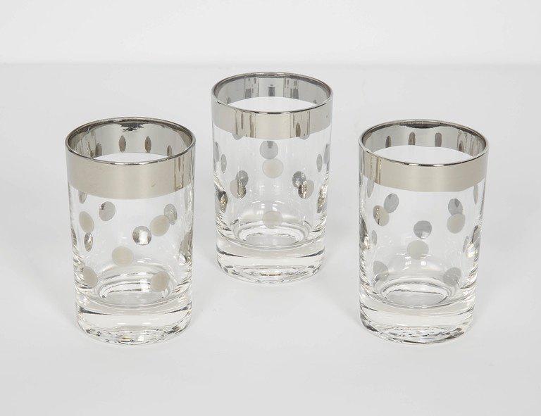 Captivating Set Of Six Dorothy Thorpe Barware Glasses With Polka Dot Design   Image 3  Of 5