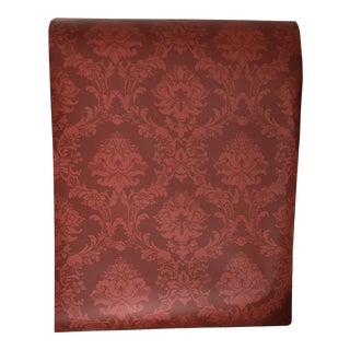 Norwall Red Damask Wallpaper Rolls - Set of 10 For Sale