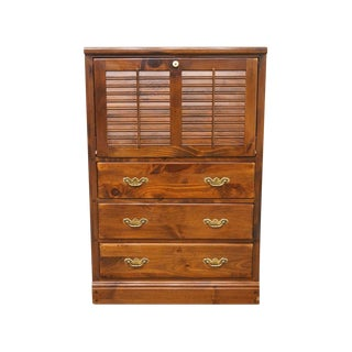 Ethan Allen Antiqued Pine Shutter Door Liquor Cabinet For Sale