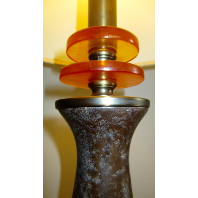 Red Mid Century Modern Burgundy Glazed Ceramic Table Lamp For Sale - Image 8 of 13