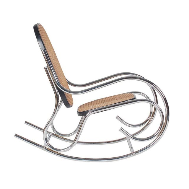 Metal 1970s Mid-Century Scrolled Chrome and Cane Rocking Chairs - a Pair For Sale - Image 7 of 10
