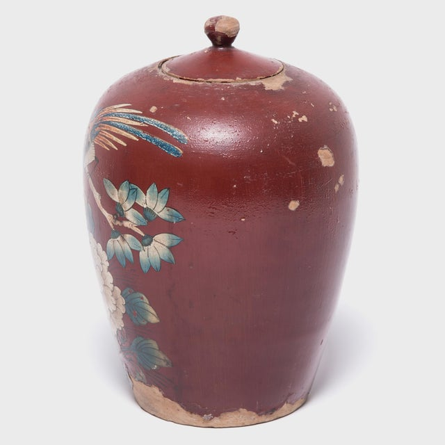 Chinese Painted Oxblood Jars With Phoenix & Peonies - a Pair For Sale - Image 9 of 13