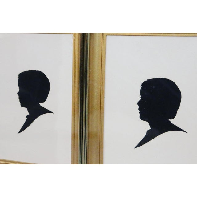 """Mid-Century Silhouette Art print of male portrait in a gold metal frame Set of 3 Each frame W6"""" x D1"""" x H8"""" inches Very..."""