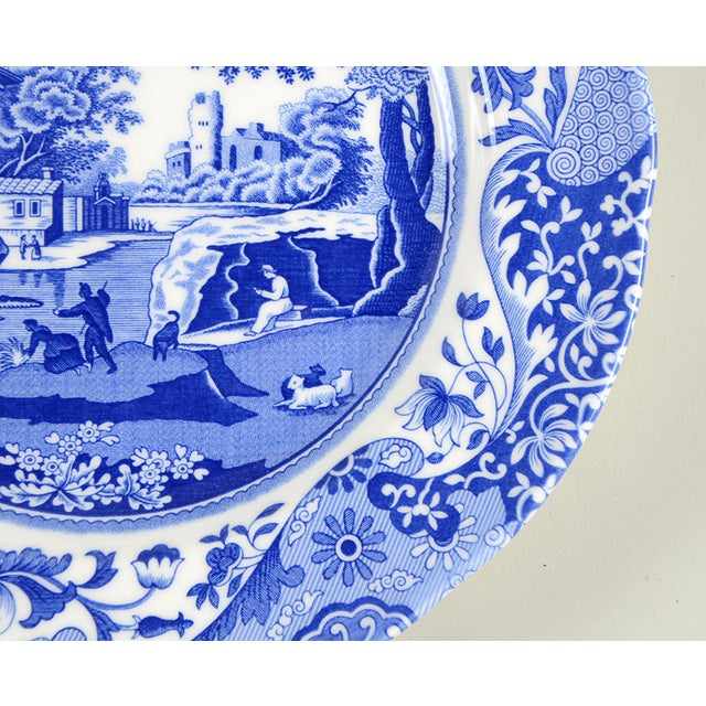English Spode Blue Italian Luncheon Plate - Set of 8 For Sale - Image 3 of 7