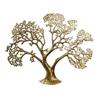 Vintage Brass Wall Tree Wall Sculpture For Sale