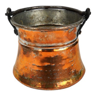 Small Moorish Copper Pewter Pail For Sale