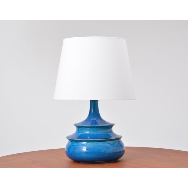 Mid 20th Century Rare 1960s Turquoise Glazed Danish Vintage Table Lamp by Nils Kähler For Sale - Image 5 of 6