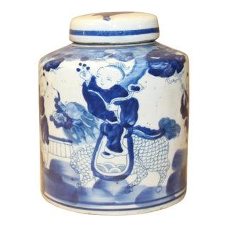 Chinese Blue White Ceramic Kid Kirin Graphic Container Urn Jar For Sale