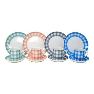 Vintage Embassy Fine China Gingham in Pink, Blue, Green & Gray - Set of 23 Salad Plates For Sale