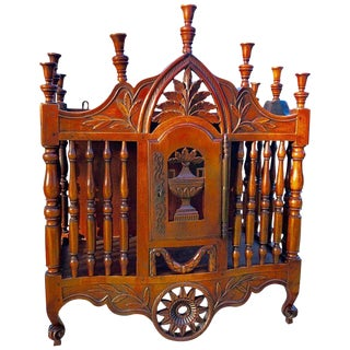 Antique French Carved Walnut Panetiere For Sale