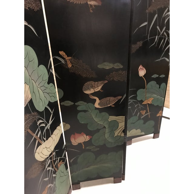 Asian Vintage Chinese Lacquer Coromandel 4-Panel Screen For Sale - Image 3 of 11