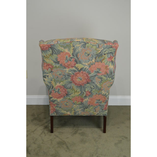 Southwood Chippendale Style Mahogany Frame Floral Upholstered Pair of Wing Chairs For Sale - Image 9 of 13