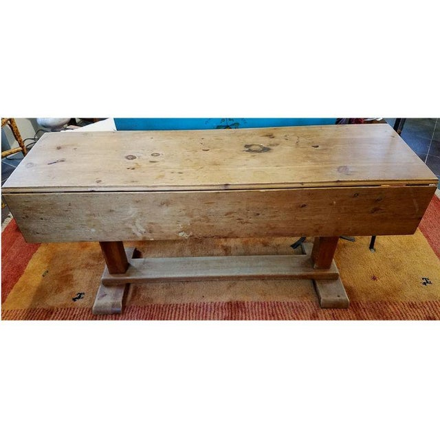 Rustic Pine Drop Leaf Trestle Farm Table