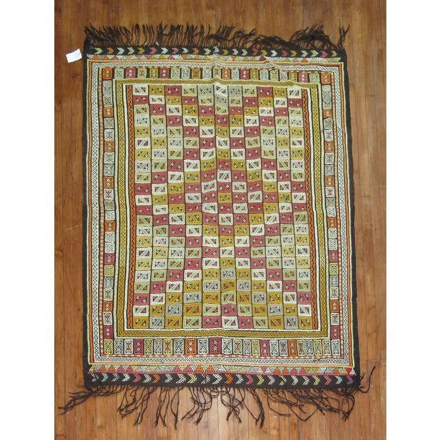 Geometric motif hand-knotted Turkish Flat Weave kilim rug in multiple colors. Can also be used as a textile or throw piece.