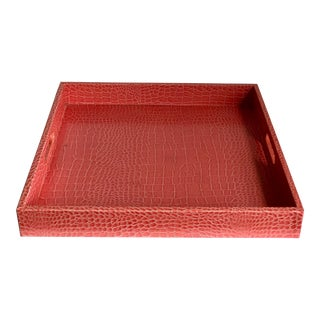 Coral Croc Embossed Serving Tray For Sale