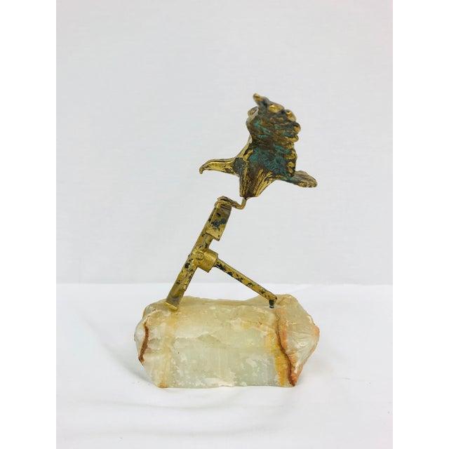 Modern Brass Eagle on Wheel Quartz Statuette For Sale - Image 3 of 12