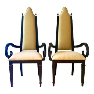 Pair of Theatrical Highbacked Ebonised Framed Armchairs 1960s For Sale