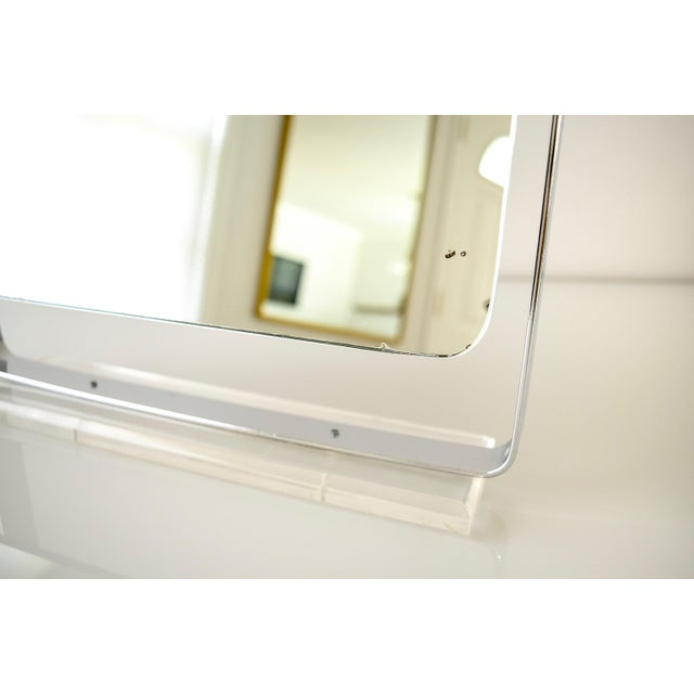Mid Century Chrome and Lucite Adjustable Tabletop Mirror For Sale - Image 9 of 10