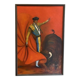 1970's Signed Bull & Matador Painting, 26 X 38 For Sale