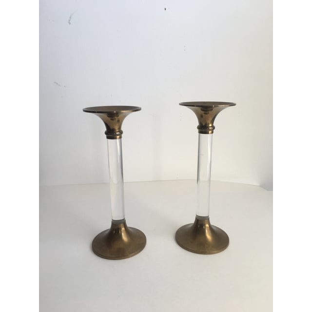 Hollywood Regency Hollywood Regency Brass & Lucite Candle Holders - a Pair For Sale - Image 3 of 8